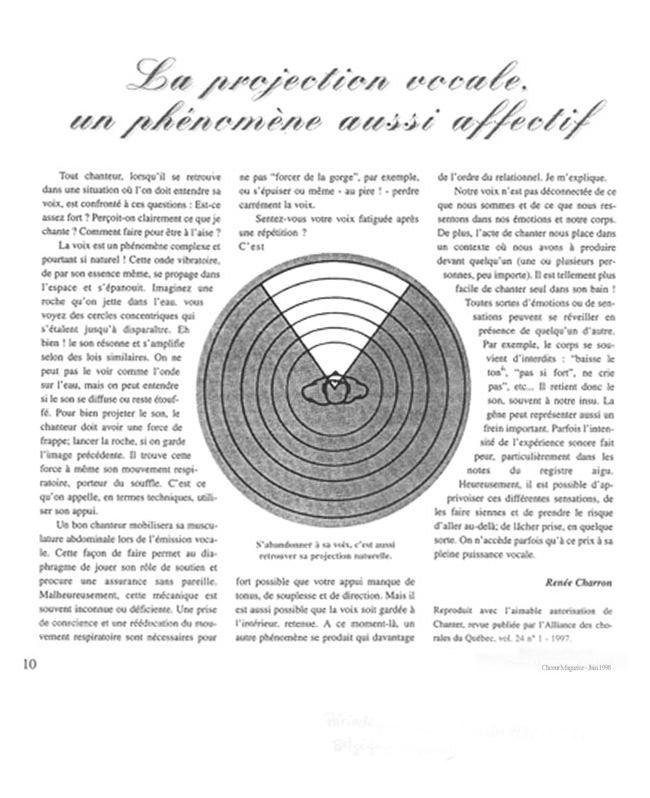 La projection vocale, un phénomène affectif article de Renée Charron