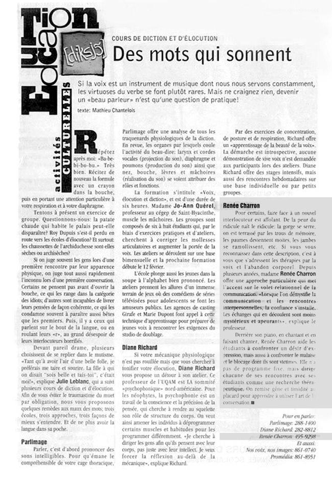 Des mots qui sonnent - Texte écrit par Mathieu Chantelois - Journal Voir Professeure Renée Charron